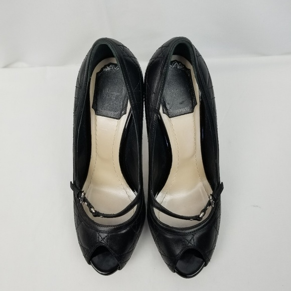 983b1d78e3c Dior Shoes - Dior Black Quilted Leather Peep Toe Heels Pumps